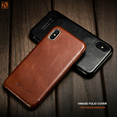 For iPhone XS MAX XR 7 8 Case ICARER 100% Genuine Real Leather Wallet Flip Cover
