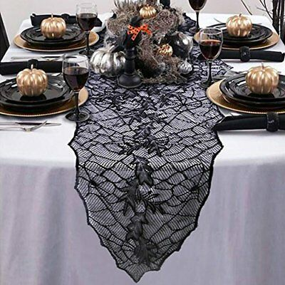 Aytai Halloween Decoration Black Lace Table Runner Leaf Web Tablecloth Cover 74
