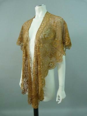 Antique Victorian handmade pale gold bobbin lace shawl - 73 x 19 inches
