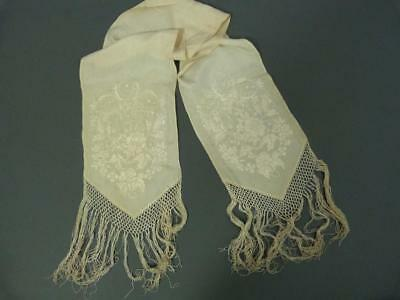 Original Victorian embroidered ivory silk dress scarf - 52 x 7 inches