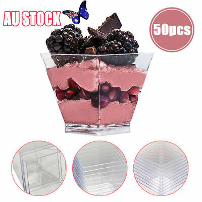 50pcs Mousse Cake Dessert Cups Clear Plastic Sample Drink Wine Jelly Tumbler AU