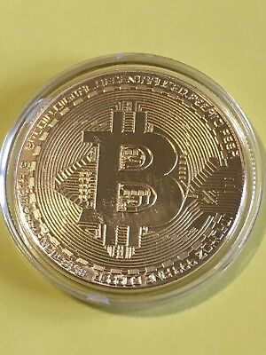 1x Bitcoin Collectible gift Gold Plated Iron Commemorative Coin In Case (UK)
