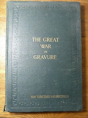 Antique 1917 NY Times World War Portfolio Book - Rotogravure Etchings