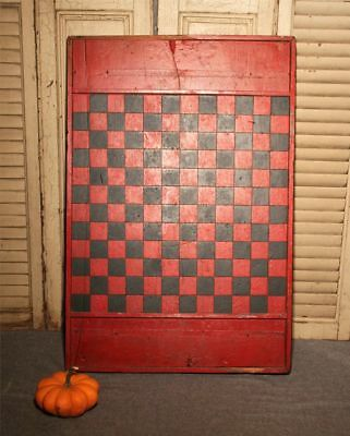 Antique Primitive Painted Game Board Checkerboard Folk Art