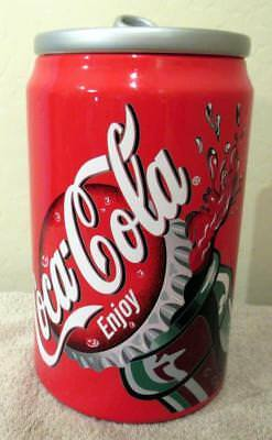 2001 Coca Cola Red Round Soa Can Cookie Jar Container Canister