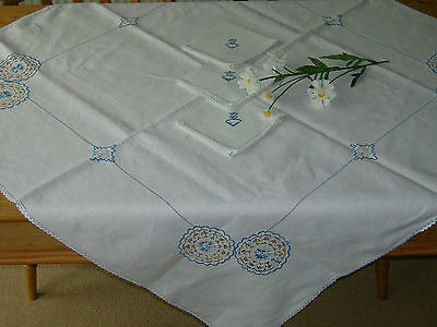 Vintage Linen, Embroidered Lace Tablecloth and 3 Napkins 110cm x 108cm