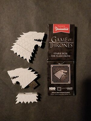 Set of 2 Game of Thrones 4GB USB Jon Snow White Wolf House Stark HBO Lootcrate