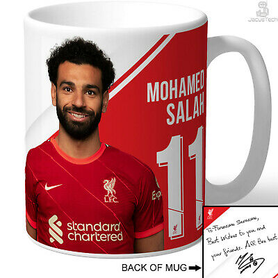 PERSONALISED Mo Salah Mug. Signed Autograph Message. Official Liverpool Cup. LFC