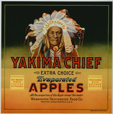 YAKIMA CHIEF Vintage Washington Apple Crate Label, Indian, **AN ORIGINAL LABEL**