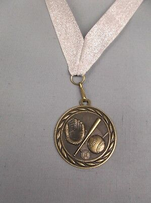 silver BASEBALL medal with blue and white neck drape trophy