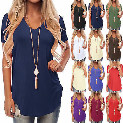Plus Size AU Womens Casual Loose V-neck Tops Ladies Summer Holiday Beach Shirts