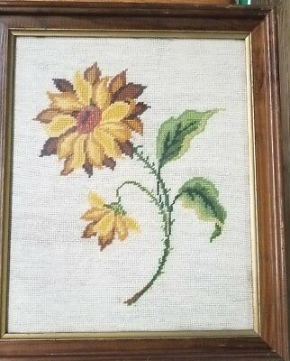 Hand Stitched Crafted Needlepoint Cross Stitch Sunflower Picture/ Wood Frame
