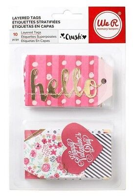 CRUSH 10 pieces Layered Tags Gold Foil We R Memory Keepers Love Valentine