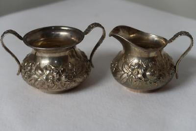 S Kirk & Sons Hand Decorated Repousse Miniature Open Sugar & Creamer 418AF