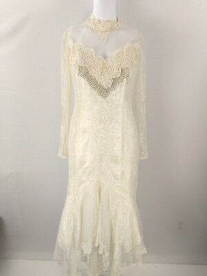 Vintage wedding Dress womens size 10 lace beaded halloween costume asymmetrical