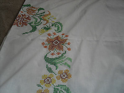 "Beautiful hand embroidered linen white tablecloth 58"" x 116"""