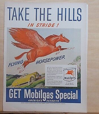 1947 magazine ad for Mobil - Take the hills in stride, flying red horse