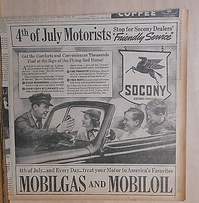 1938 newspaper ad for Mobil - 4th of July Motorists stop for Friendly Service