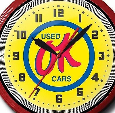 OK Used Cars Neon Clock Hand Made In The USA 20 Inch Game Room Business Man Cave