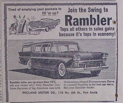 1958 newspaper ad for Rambler - Tired of big gas bills, Join swing to Rambler