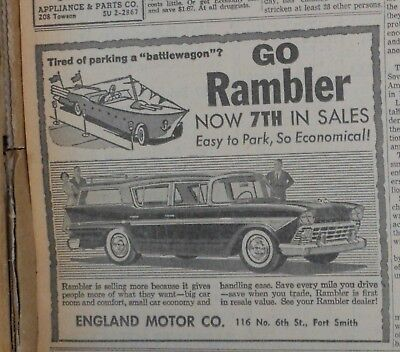 "1958 newspaper ad for Rambler - Tired of parking a ""battlewagon""? station wagon"