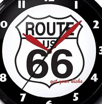 Route 66 Logo Neon Clock Hand Made USA 20 Inch Man Cave Game Room Business