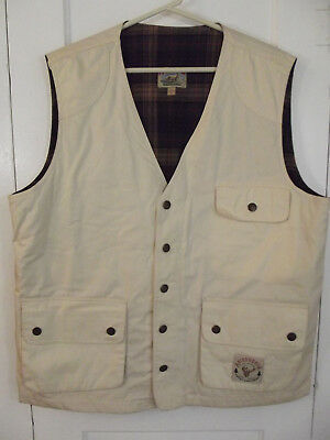 Vintage Adirondack by Saville Row Hunting Vest Tan w/ Plaid Lining Duck Vest XL