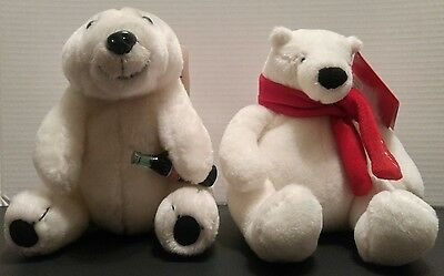"COCA-COLA Plush POLAR BEARS 2013 Coke Bottle POP Soda 7"" & 8"" RED Scarf NWT"