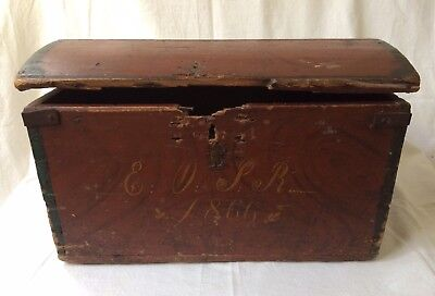 Antique Painted Folk Art Wedding Trunk Primitive Chest 1866 Inscribed Old Norse