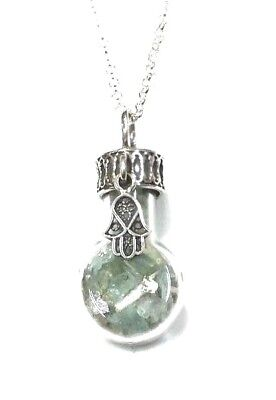 Ancient Roman Glass Pendent Fragments Chamsa Silver 925 in Glass bottle.