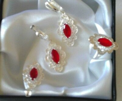 AAA Quality ! 925 Sterling Silver Jewelry Red Ruby Full Set