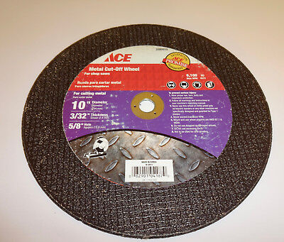 "10"" Abrasive Metal Cut-off Wheel. 3/32"" thick. 5/8"" Arbor. New"