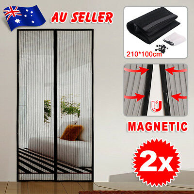 2x Magnetic Door Mesh Black Fly Screen Magic Magna Pest Mosquito Bug Curtain