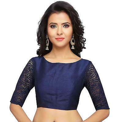 Ready-Made Stitched Designer Plain Sari Blouse With Elbow Length Lace Sleeves