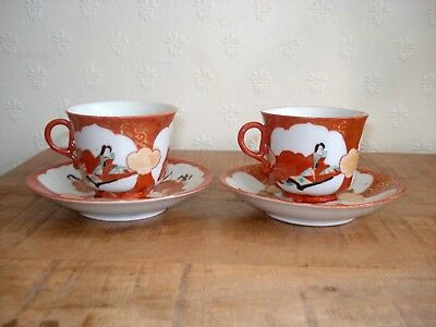 Pair stunning Japanese meiji period kutani coffee cups or teacups with saucers