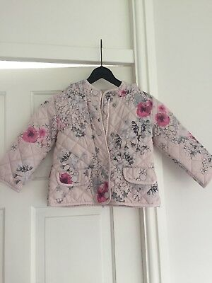 Next Pink floral trim girls zip rain jacket coat age 18 Months 2 Years