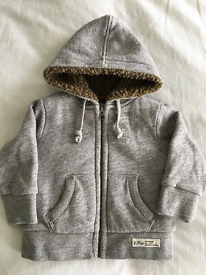 COUNTRY ROAD// BOYS 3-6 Months// Grey Marle Sherpa Lined Hoodie