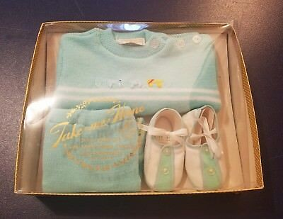 Vintage Infant/Baby TAKE ME HOME Knit Set w/Shoes Seafoam Green c. 1950's 0-3mo