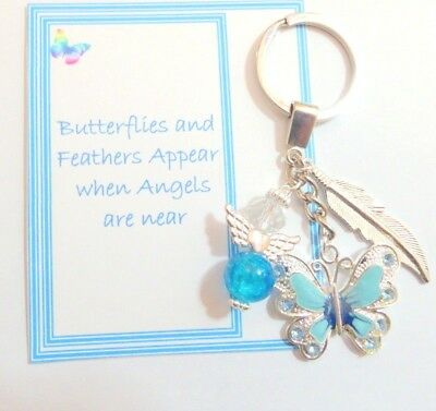 Butterflies and Feathers Appear when Angels are Near Remembrance Key Ring Gift