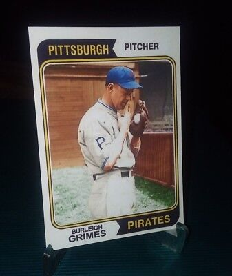 Pittsburgh Pirates Burleigh Grimes 1974  style Custom Art Card ACEO Spitball