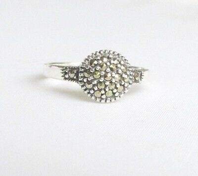 Art Deco style solid silver marcasite gemstone ring size S