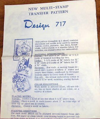Vtg 1970s Mail Order Embroidery Transfer Pattern 717 Rustic Country Rural Scene