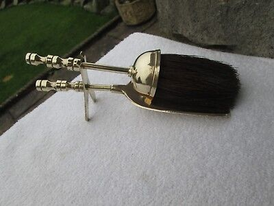Lovely Vintage Brass Fireside Brush & Shovel Set, Hearth Tidy.