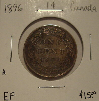 A Canada Victoria 1896 Large Cent - EF
