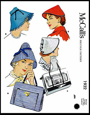 Hats Millinery #1932 McCALL'S Summer Fabric Sewing Pattern Shopping Bag Bonnet