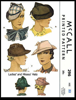 Brimmed Hats Fabric Sewing Pattern McCall #296 Millinery Caps Alopecia Chemo
