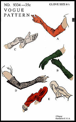 Pattern VOGUE 9334 GLOVES GLOVE MITTS Fabric Sewing GUANTES GUANTI 6 1/2