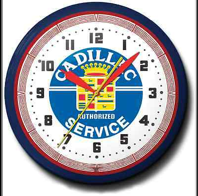 Cadillac Service Neon Wall Clock Game Room Office Hand Made In The USA 20 Inch