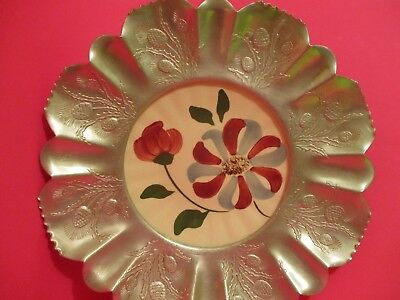 Blue Ridge Pottery  Whirligig  Plate with wide hammered aluminum edge