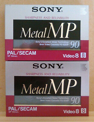 Free postage - Two Sony Metal MP 90 minute Video 8 tapes 2x 2pcs 2 pcs P5-90MP